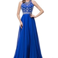 Royal Blue Beaded Sleeveless Prom Dresses