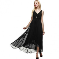 Women Sleeveless Ruched Chiffon Maxi Cocktail Party Evening Fromal Gown Dress