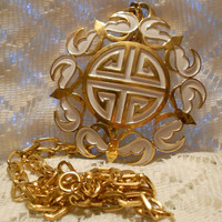 Vintage Crown Trifari Large Gold and White Pendant with Chain