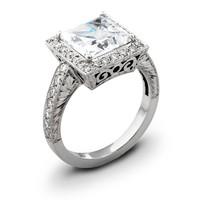 Ladies Vintage 18kt white gold engagement ring 0.50 ctw G-VS2 quality diamonds and 2ct Princess Cut natural white sapphire