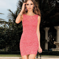 Pink Lace Halter Bodycon Mini Dress