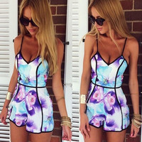 sexy flower print Sling playsuits  SZ546S