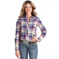 Women's Tin Haul Purple and Lime Plaid Snap Shirt
