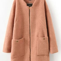 Long Sleeve Twin Pocket Zip-Up Wool Coat