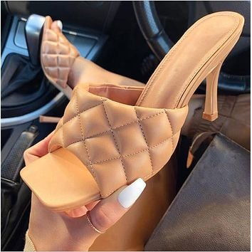 High heels square head wine glasses high heel sandals slippers apricot