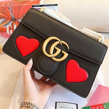 GUCCI New fashion love heart leather chain women shoulder bag crossbody bag Black