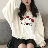 """""""CUCCI""""Fashion loose embroidery flower hooded Sweater"""
