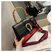 Fashion Retro Stitching Multicolor Stripe Bamboo Festival Bag Handbag Single Shoulder Bag Messenger Bag