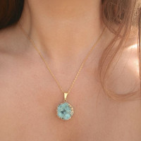 delicate gold dipped aqua blue crystal quartz druzy drusy necklace