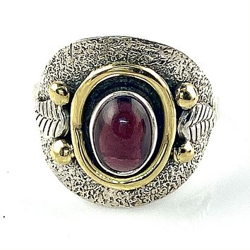 Garnet Leaf Two Tone Sterling Silver Ring