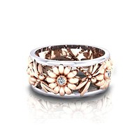 Women Sunflower Silver Band Ring