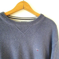 Vintage 90s TOMMY HILFIGER Blue Chunky Knit Embroidered Logo Crew Neck Sweater Sz XL