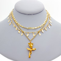 Rose Triple Chain Necklace