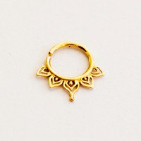 Gold Plated Septum For Pierced Nose - Nose jewelry - Septum Jewelry - Indian Nose Ring - Ethnic Septum - Septum Piercing (Code: G26)
