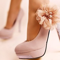 FREE SHIPPING - Flower heels with diamonds