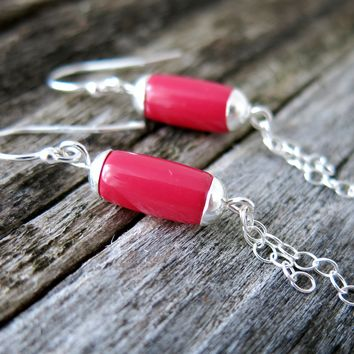 Long Dangle Earrings - Coral Glass - .925 Sterling Silver - Red Pink - Chain - Summer Fashion Jewelry