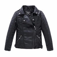 Baby Boys Faux Leather Jacket Kids Girls And Coats Spring Kids Jackets Boys Casual Black Solid Children Outerwear 2018