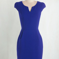 Mid-length Cap Sleeves Shift Cove Conference Dress