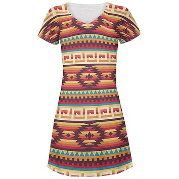 Native American Pattern Red All Over Juniors V-Neck Dress