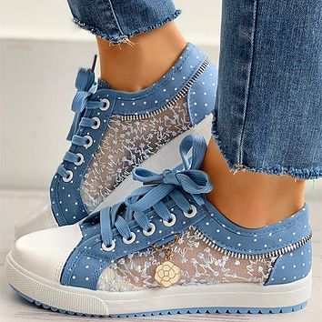 New women's hollow canvas mesh casual flat shoes