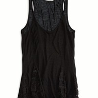 AEO Women's Paneled Lace Tank (Black)