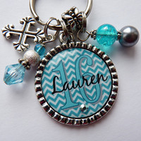 Personalized Sweet 16 gift, blue teal white chevron, childrens name, grandaughter, mom, present, sister, aunt, daughter keychain necklace