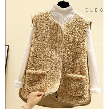 New style hot all-match fashion fur all-in-one plush vest