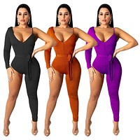 Women Sexy One Long Sleeve Pants Leg Fashion Jumpsuit