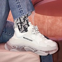 Balenciaga Hot Fashion Retro Transparent Thick-soled Daddy Shoes