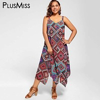 Plus Size 5xl Spaghetti Strap Geometric Print Ethnic Summer Women Dress Beach Boho Chiffon Maxi Long Dress 2017 Big Size