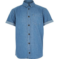 River Island Boys blue denim embroidered shirt