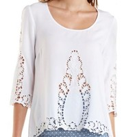 White Crochet-Trim Swing Top by Charlotte Russe