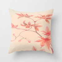 Japanese Maple Leaves Throw Pillow by PureVintageLove