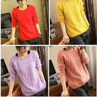 Casual Women's Round Neck New Knit Jumper Pullover Sweater Coat Tops