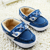 Infant Baby Boys Blue Soft Sole Crib Shoes Sneakers Size born to 18 Months