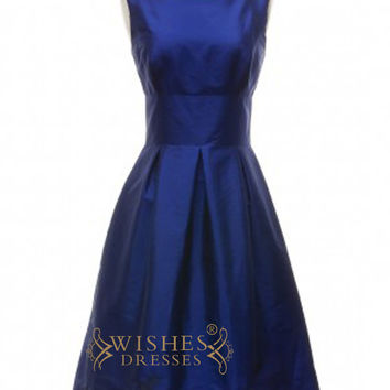 A-line Navy Satin Short Bridesmaid Dresses AM347