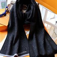 LV Louis Vuitton new letter embroidery ladies fringed scarf-2