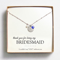 Silver w/ Sapphire Crystal & Pearl Necklace