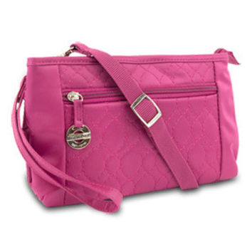 Travelon Convertible Quilted Crossbody Wristlet Bag & Waist Pouch Purse (Berry)