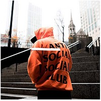 Antisocial Unisex Fashion Casual Pattern Print Long Sleeve Hooded Top Sweater Hoodie
