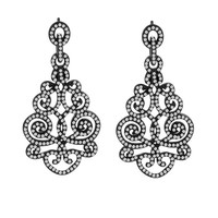 1 1/3ct tw Diamond Fashion Earrings in Sterling Silver with Black Rhodium - Diamond Earrings - Jewelry & Gifts