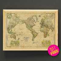 Vintage Rustic World Map Print Antique World Map Reproduction Poster Housewear Wall Art Decor Gift Linen Print - Buy 2 Get FREE - 406s2g