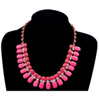 Pink necklace- Jewelry- Women Fashion Jewelry Resin Bid Statement Chain Necklace