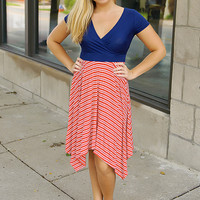 Summer Spirit Dress (Navy/Red)