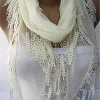 Beige scarf ,women scarves - fashion scarf - gift Ideas For Her Women's Scarves-christmas gift- for her -Fashion accessories-scarves
