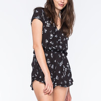 Mimi Chica Dark Floral Womens Surplice Romper Black/White  In Sizes