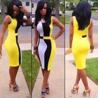 2016 New Celebrity Patchwork Women's Slim Bodycon Fitted Dress