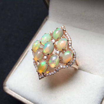 Opal Sterling Silver Diamond Shaped Ring