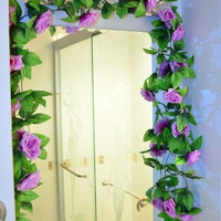 1PC Silk Rose Flower Fake Artificial Ivy Vine Hanging Garland Wedding Home Decor = 1931998276
