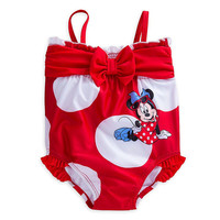 Original Disney Store Minnie Mouse Bow Red Swimsuit UPF 50+ Baby Girl 12-18M